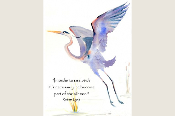 Greta Blue Heron II with quote