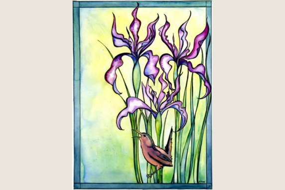 Wild Iris and Marsh Wren Note Card