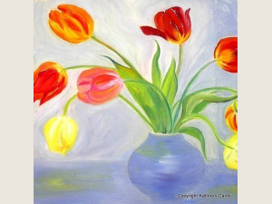 Tulips in A Blue Vase Notecard Gift Set