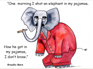 Elephant in my pajamas card