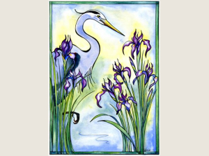 Wild Iris and Great Blue  Heron NoteCard