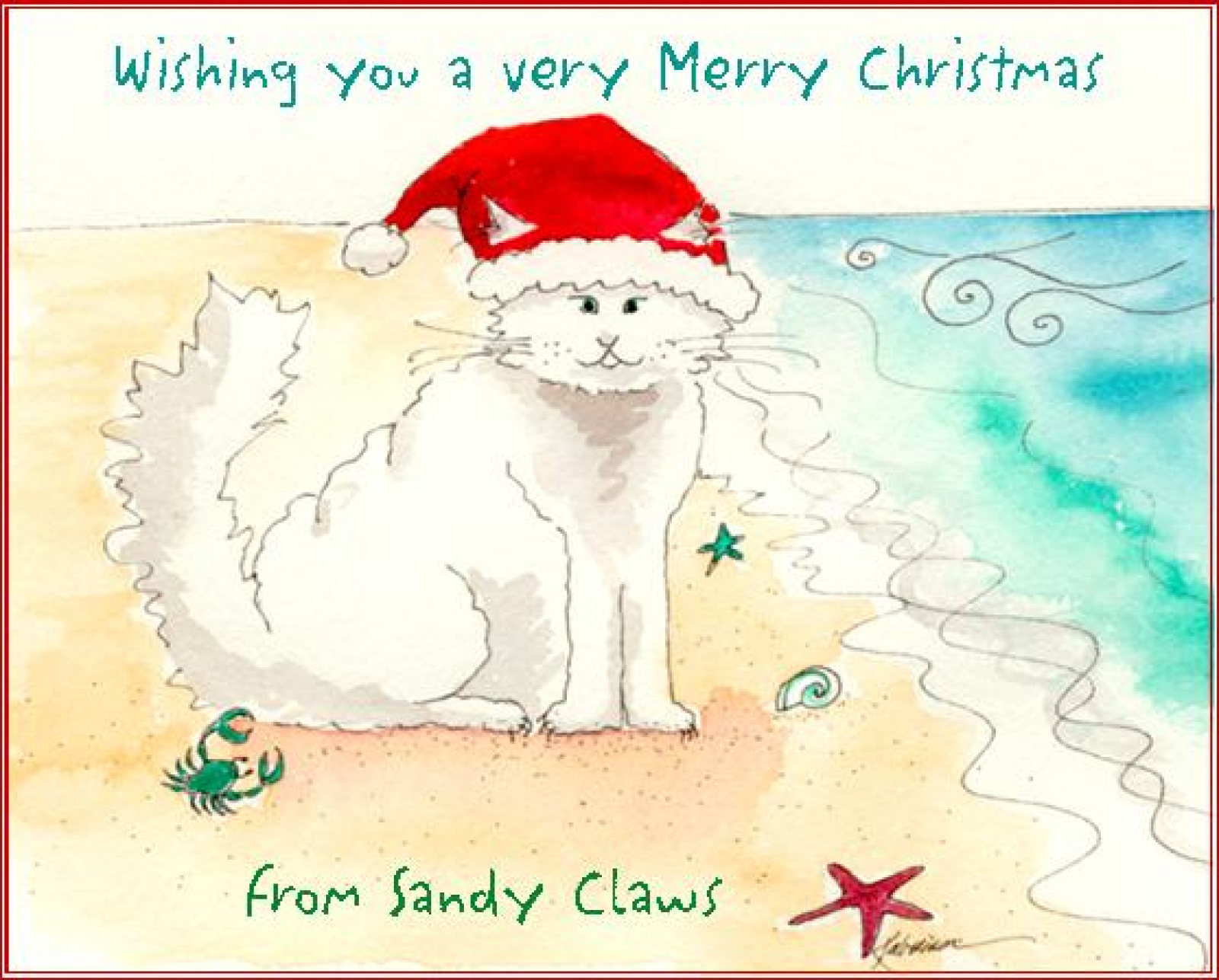 Sandy Claws large Christmas Card | Katrina\'s Cards and Gifts