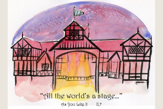 All the World's a Stage As You Like It Shakespeare quote card