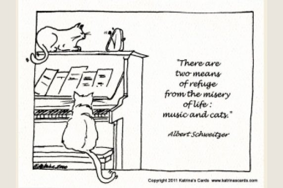 Cats and Piano art and quote