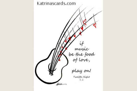 Music Food of Love Shakespeare Quote 6 Note Card Gift Set