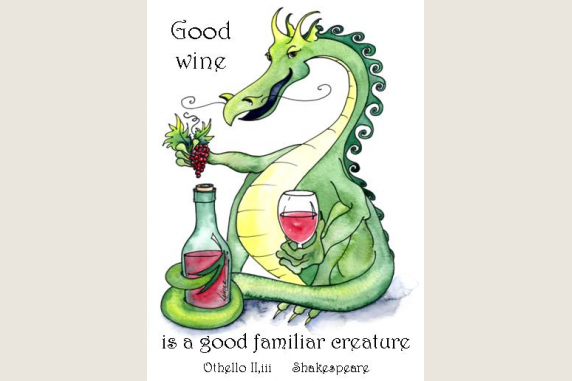 Dionysus Dragon Shakespeare Wine Quote 6 Note Card Gift Set