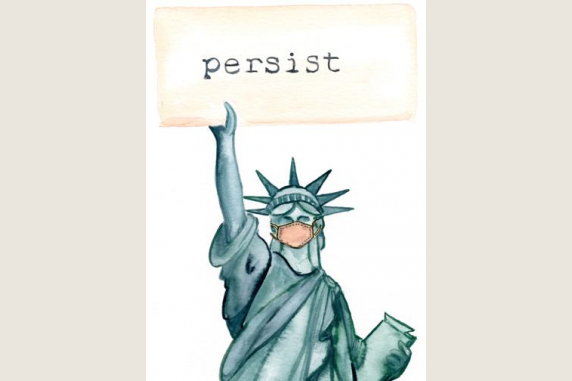 Statue of Liberty Persist Stay Well  6 Note Card Gift Set