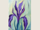 Oil painting of Purple Iris on muted swirling green background