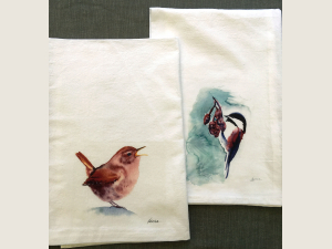 Pacific Wren and Chestnut Chickadee Kitchen Towels