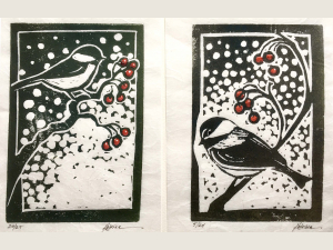 2 chickadee block prints with snowy background and red berries