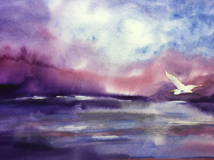 watercolor painting of egret flying over waters reflecting rich purples