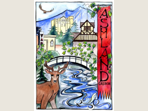 Ashland note card with deer and OSF