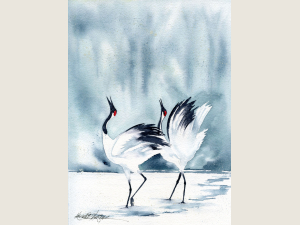 watercolor of 2 black & white cranes wings uplifted against snowy landscape
