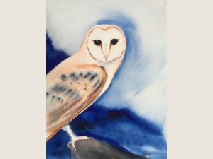 watercolor of perched Barn Owl with deep blue mountains in background