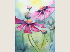 watercolor of pink petaled flowers and buds against green yellow and blue bg