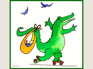 Crocodile on Skates Baby shower card