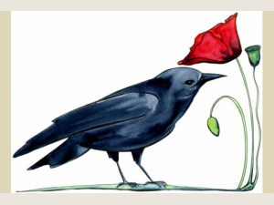 Crow and Poppy Watercolor