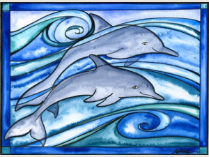 Dolphins watercolor note card