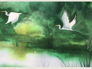 detail of watercolor of white egrets flying across lush green landscape