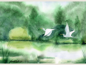 watercolor landscape of rich greens with white birds flying over water