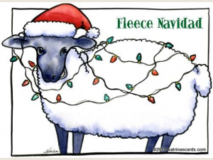 """Fleece Navidad"" 6 holiday card gift pack"