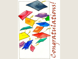 """multi colored graduation caps fly across the white background """"Congratulations"""""""