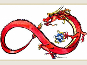 Red watercolor and ink Chinese  dragon in infinity shape on white back ground