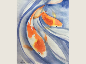 watercolor painting of orange and white fish swim in lavender waters