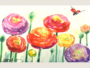 """Ranunculus Spring"" Miniature Original Watercolor"