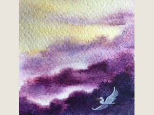 watercolor painting of purple hills and golden sky with one egret in flight