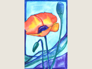 Tiny Poppy painting on Aquabord