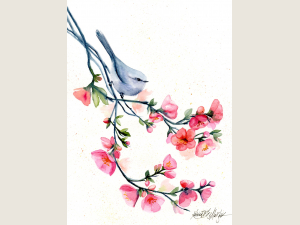 watercolor painting of small grey songbird perched of branch of pink blossoms