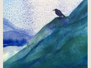 watercolor landscape of rich green and blue hills with raven