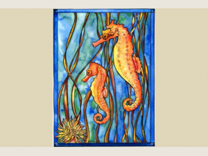 """Sea Horses"" watercolor by Katrina Meister"