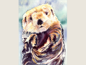 watercolor painting of sea otter with blue/green background