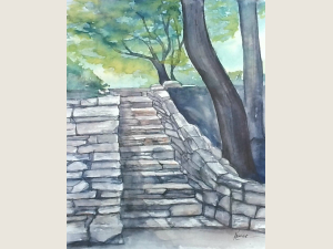 ink and watercolor painting of stone steps under green trees