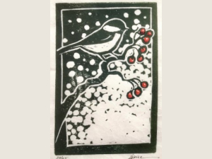 block print art of chickadee on red berry branch with snow