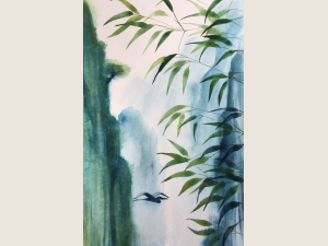 watercolor of blue and green, bamboo flying heron and soaring mountain cliffs