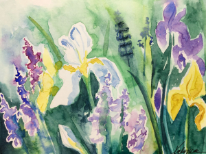 watercolor of white, purple and yellow blossoms in a washy green garden