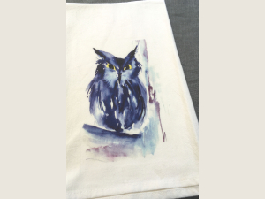 photo of Screech Owl kitchen towel