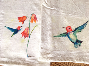 2 kitchen towels with Katrina's hummingbird art