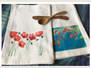 2 Flour Sack Kitchen Towels with poppy art
