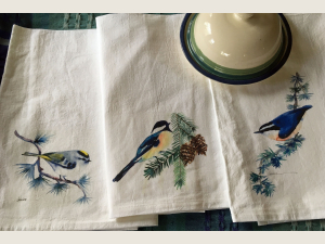 3 Flour Sack Kitchen Towels with song bird art:  Kinglet, Chickadee, and Nuthatc