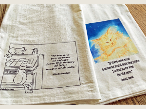 2 Cat designs on flour sack kitchen towels