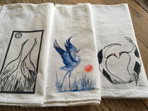 3 Crane Art : Flour Sack Kitchen Towels