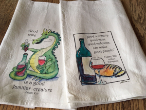 2 Flour Sack Kitchen Towels with Katrina's art and Shakespeare quotes