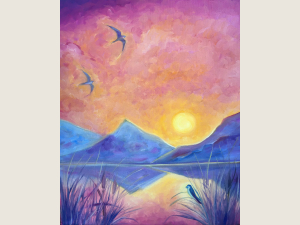 3 birds and lavender mountains against a sunset sky and water