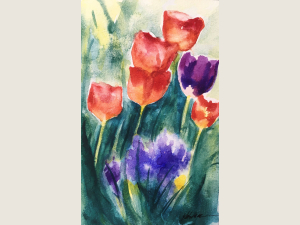 colorful spring bulbs with washy green background