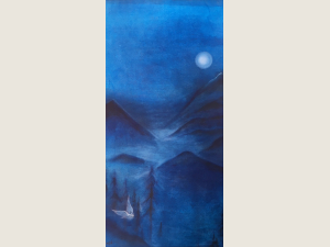 """""""Valley Mist Owl"""" original Acrylic Tapestry Painting by Katrina Meister"""
