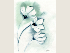 watercolor of white flowers with washy pale green and blue background